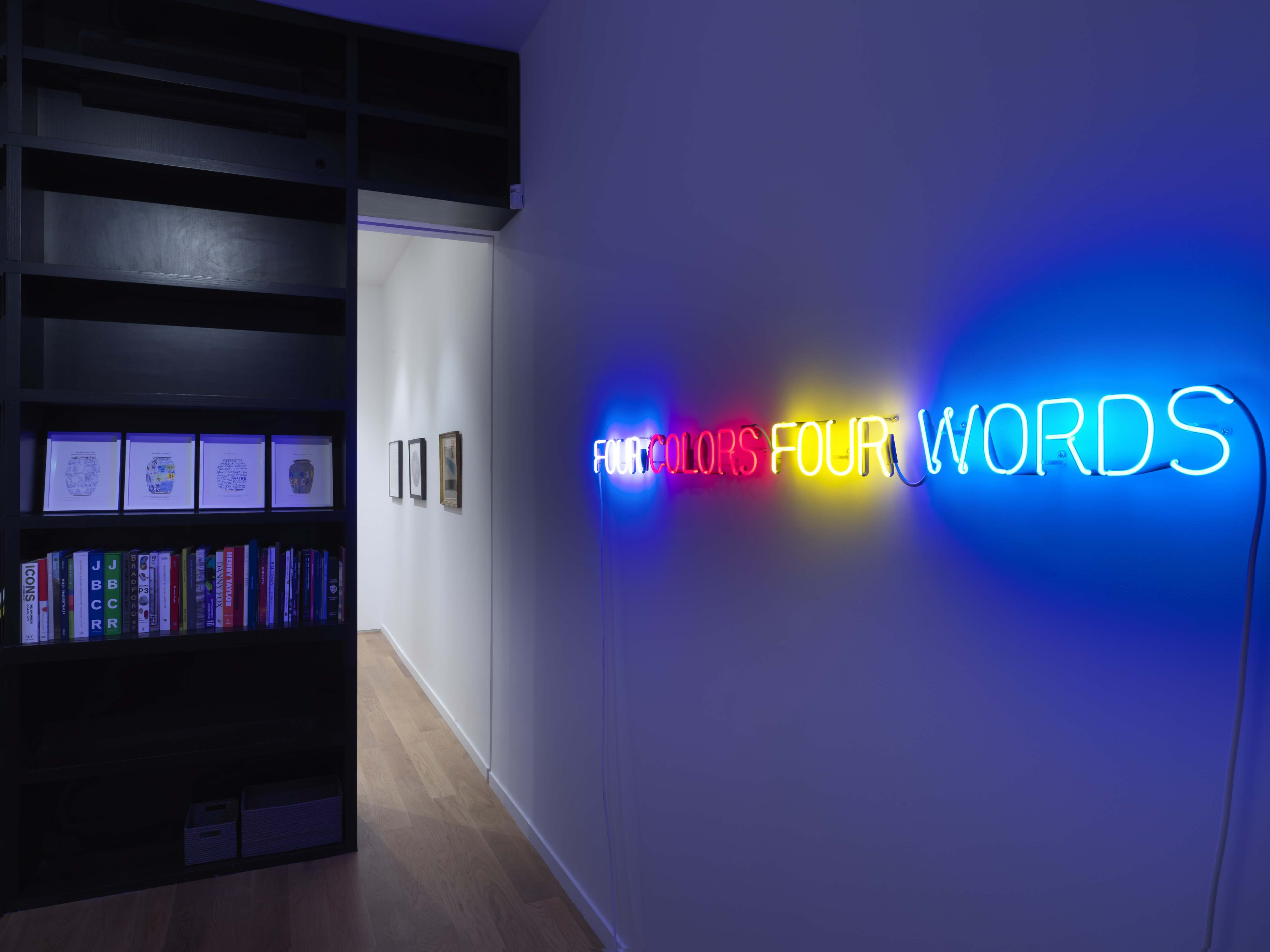 Joseph Kosuth Four Colors Four Words, 1966 installation, violet, red, yellow, blue neon mounted directly on the wall; certificate of authenticity