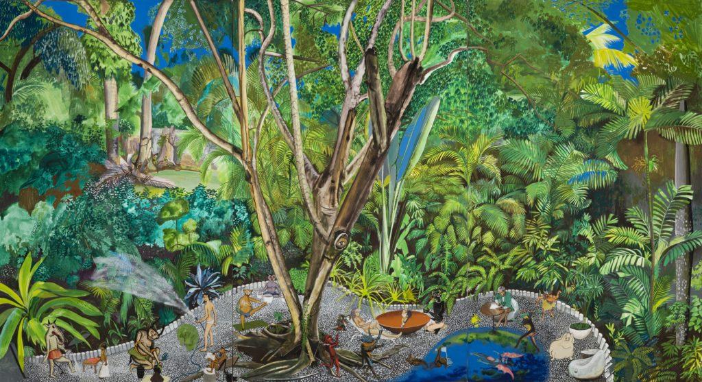 Hulda Guzmán wednesday morning, 2019, acrylic gouache on canvas, triptych