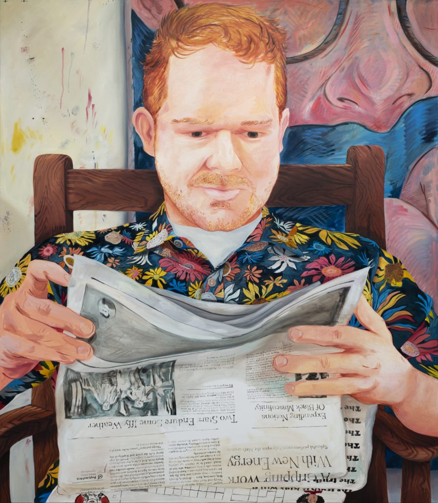 Rebecca Ness Justin Reading in a Floral Shirt, 2019, oil on canvas