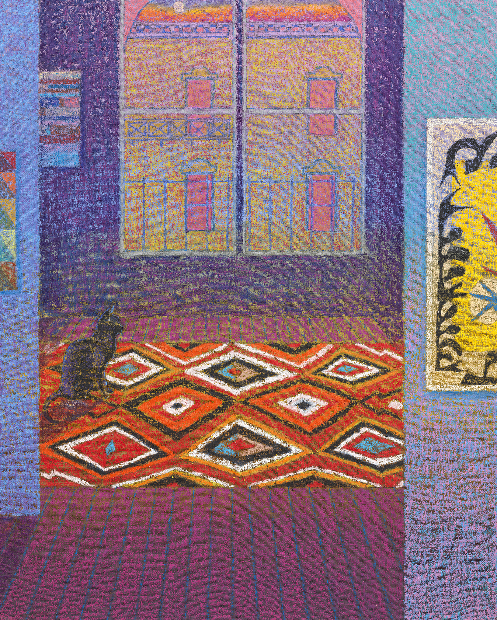 JJ Manford New York City Loft with Navajo Rug and Matisse Poster, 2019 oil stick, oil pastel, and flashe on burlap over canvas 60 x 48 in. (152.4 x 121.9 cm.)
