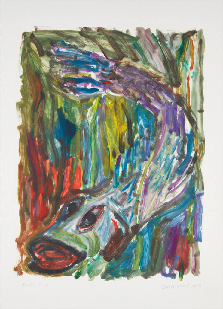 Josh Smith Diving Fish, 2015 monotype in colors, on Somerset paper, with full margins 30 x 22 in. (76.2 x 55.9 cm.) Unique