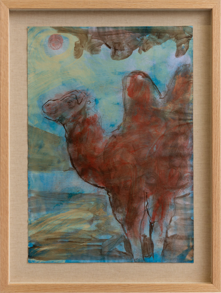 Ryan Mosley A Camel in shade, 2020 oil and pencil on paper on linen in artist's frame 16 1/2 x 11 5/8 in. (42 x 29.5 cm.)