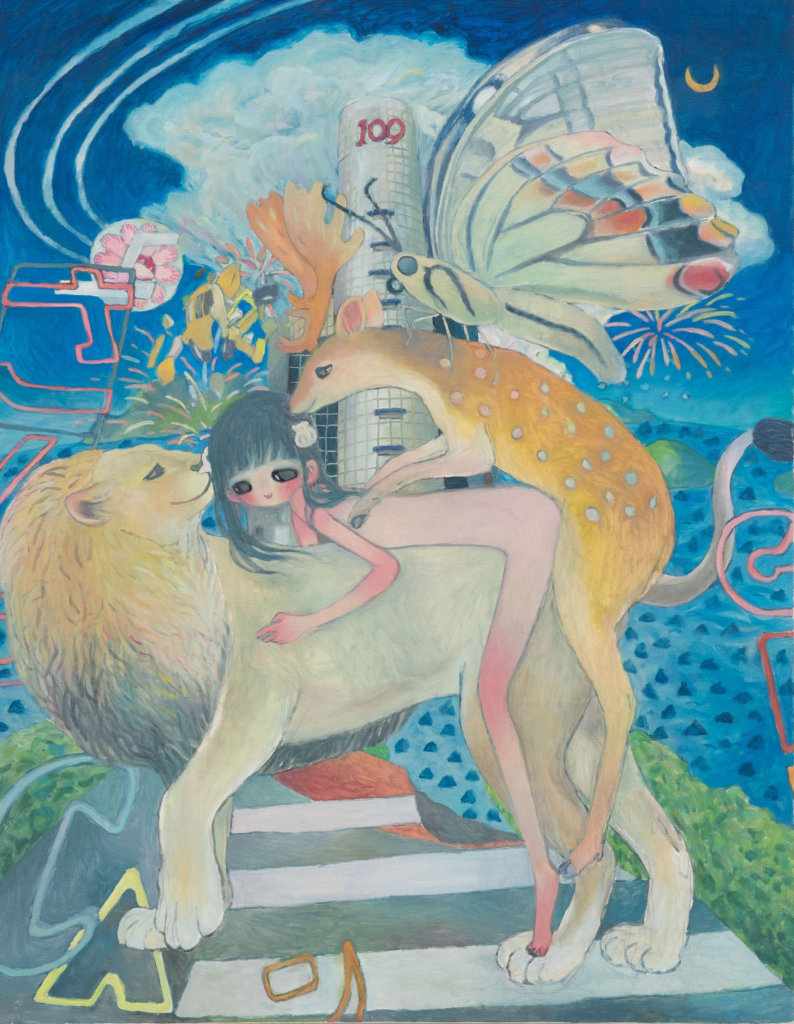Aya Takano Shibuya Island in 2073, energia et bilanx, 2019 oil on canvas Unframed : 45 15/16 x 35 13/16 in. (116.7 x 91 cm.) Framed : 47 3/8 x 37 3/16 in. (120.4 x 94.5 cm.)