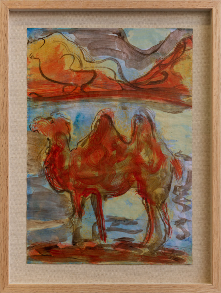 Ryan Mosley Camel in the mountains, 2020 oil and pencil on paper on linen in artist's frame 16 1/2 x 11 5/8 in. (42 x 29.5 cm.)