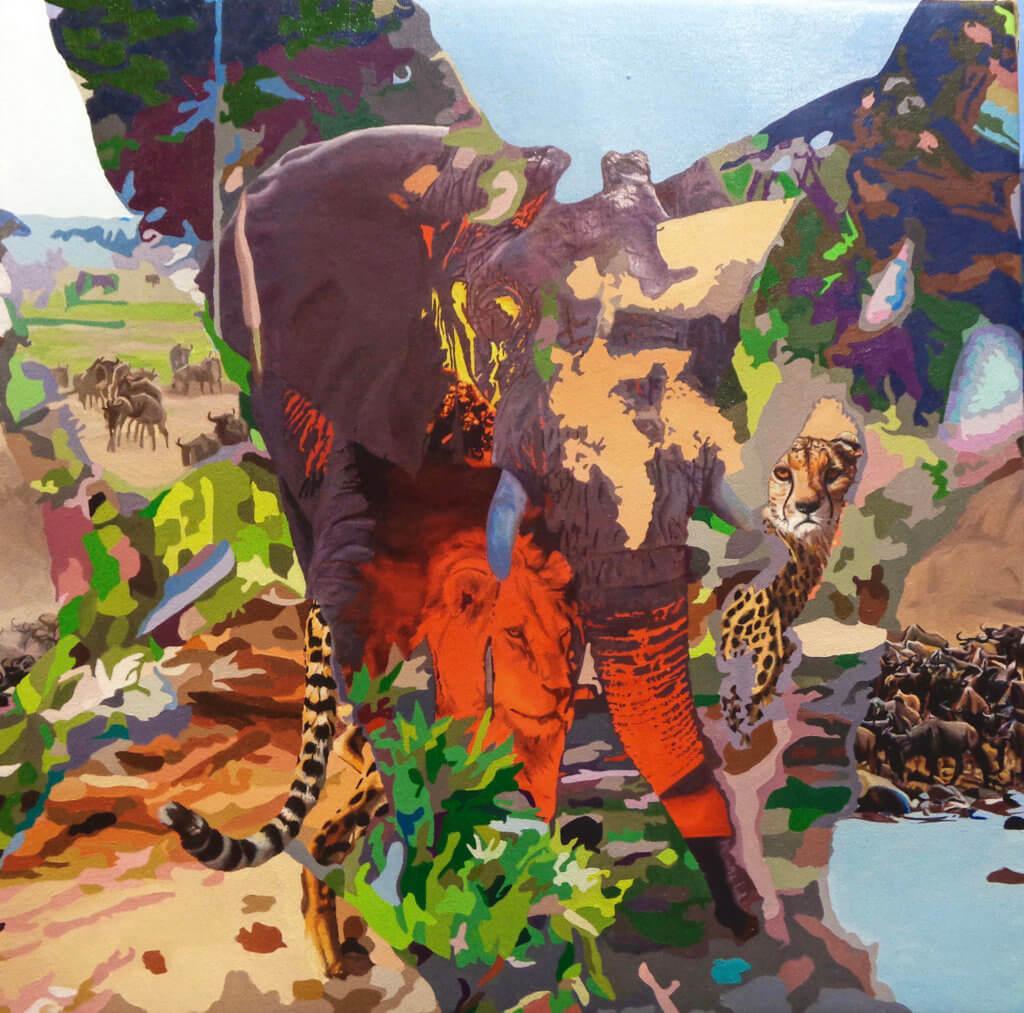 Darryl Westly Interior/Exterior Savannah, 2020 oil on canvas 18 x 18 in. (45.7 x 45.7 cm.)