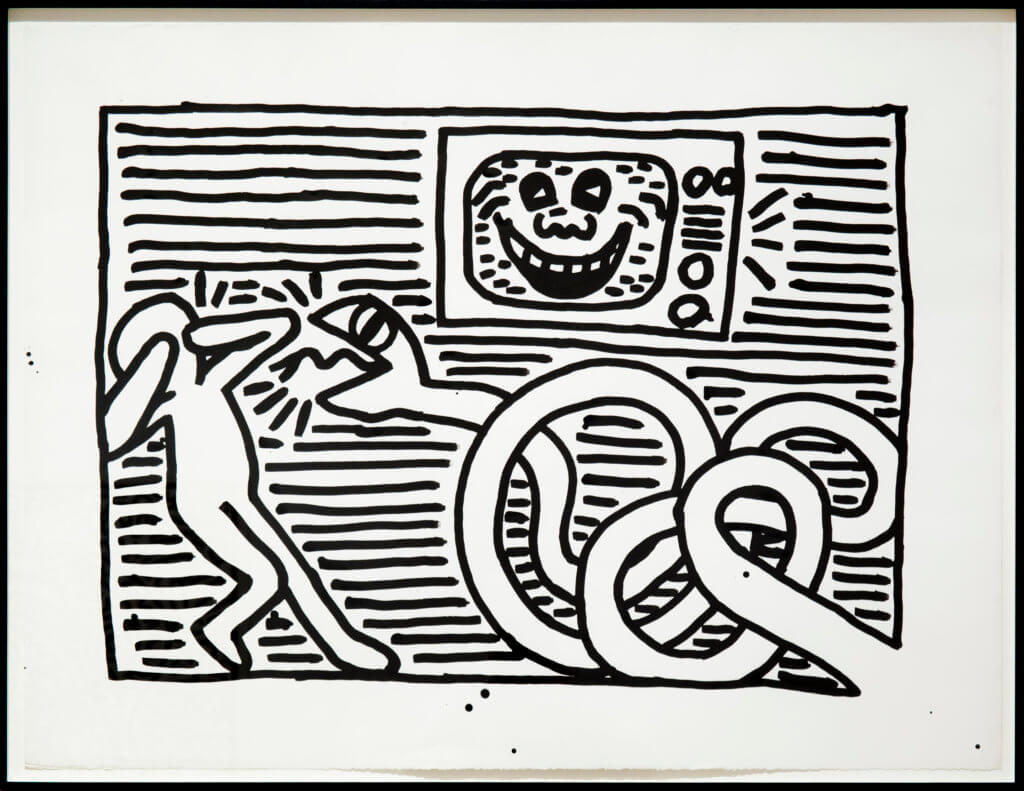 Keith Haring Untitled, 1981 ink on paper, framed 38 1/2 x 50 in. (97.8 x 127 cm.)