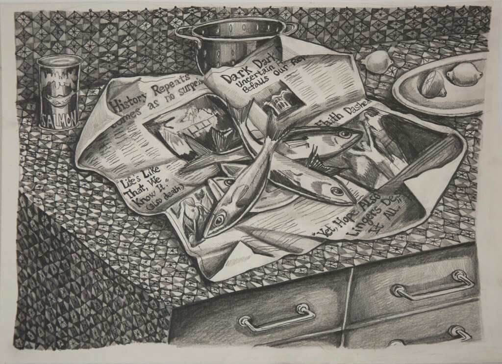 Nikki Maloof Fish and Headlines, 2020 graphite on paper 11 1/2 x 15 1/2 in. (29.2 x 39.4 cm.)