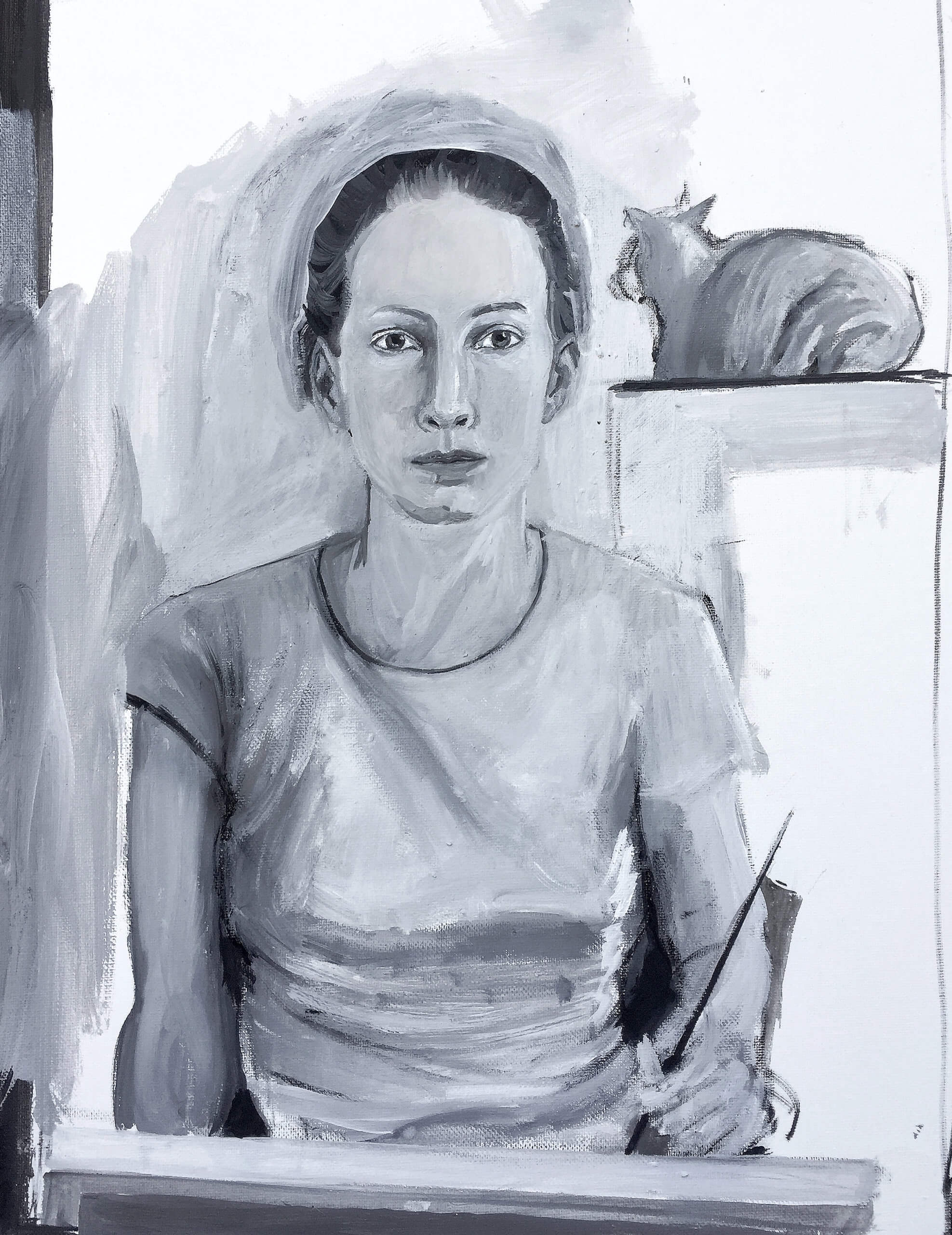 Haley Mellin Self-Portrait (with Orange Cat), 2020 acrylic, tempera and gouache on canvas, in artist's frame 16 1/2 x 12 1/2 in. (41.9 x 31.8 cm.)
