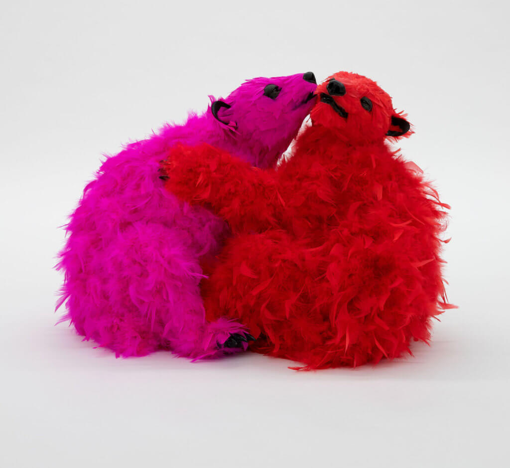 Paola Pivi Long time no see, 2019 urethane foam, plastic, feathers Together : 20 x 21 x 27 in. (50.8 x 53.3 x 68.6 cm.)