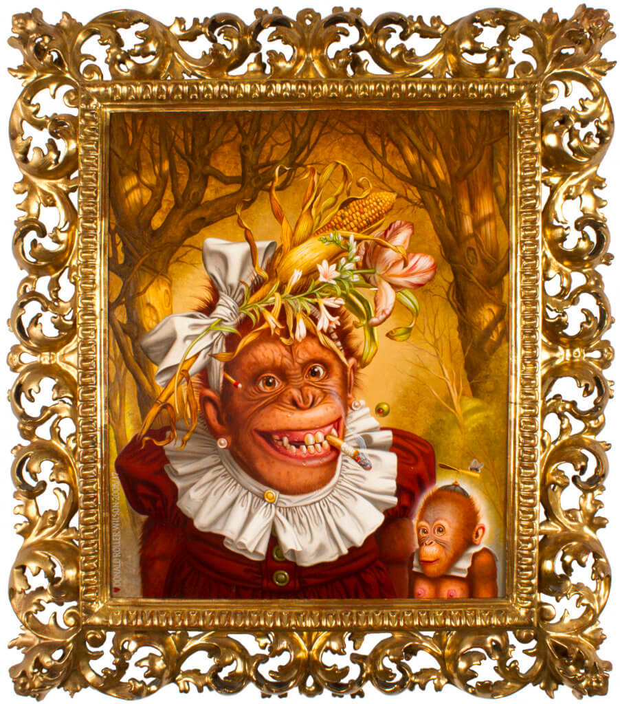 Donald Roller Wilson The Seldom Seen Joanne: Naughty Betty and Mort, 2008 oil on canvas in artist's frame 18 1/2 x 15 1/2 in. (47 x 39.4 cm.) Framed: 24 1/2 x 21 1/2 x 2 5/8 in. (62.2 x 54.6 x 5.6 cm.)