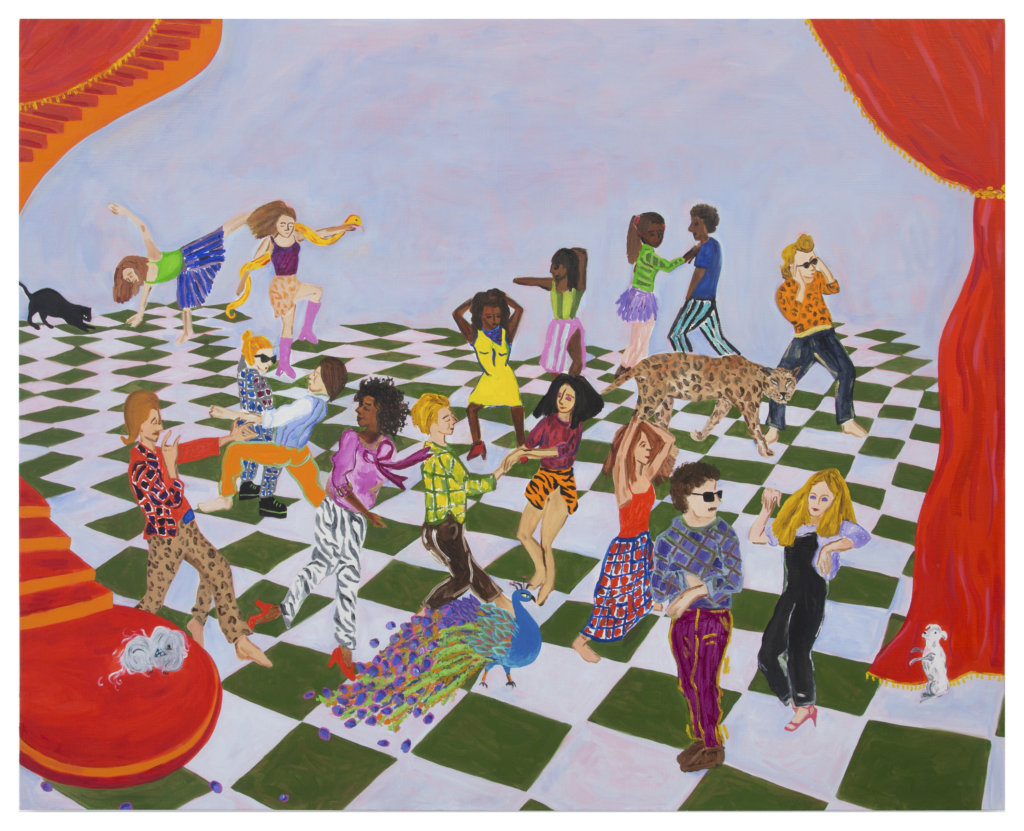 Elana Bowsher We Love to Boogie, 2020 oil and acrylic on canvas 48 x 60 in. (121.9 x 152.4 cm.)