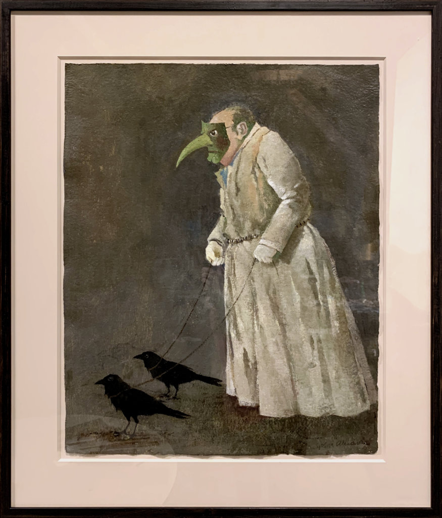 John Alexander Man Walking His Birds, 2020 oil on paper, framed 28 x 22 1/2 in. (71.1 x 57.1 cm.)