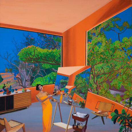 Hulda Guzmán Pintando la Almendra, 2020 acrylic gouache on linen 45 x 45 in. (114.3 x 114.3 cm.)