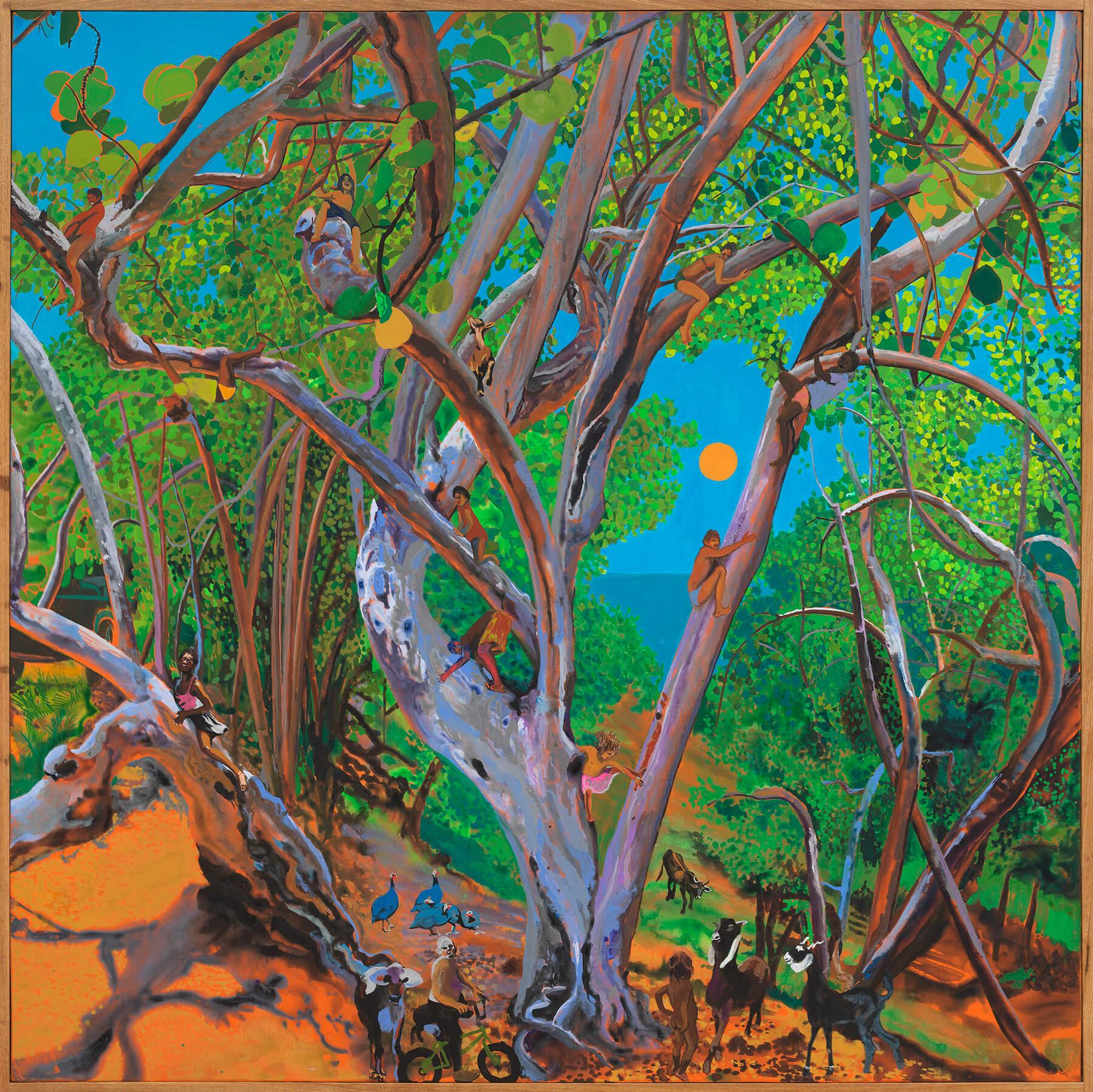Hulda Guzmán Uva de Playa 2, 2020 acrylic gouache on linen 35 x 35 in. (88.9 x 88.9 cm.)