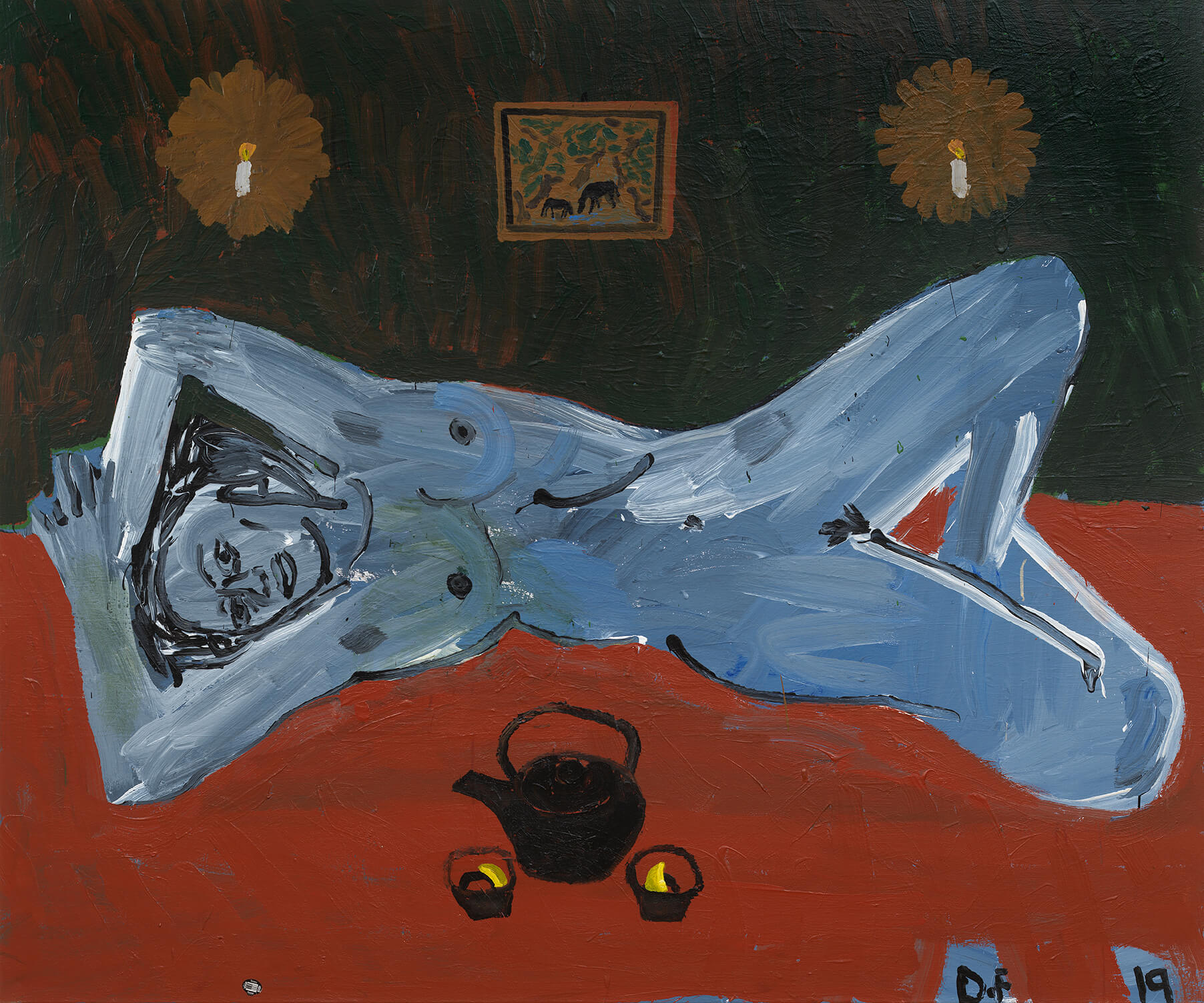 Danny Fox Lorraine with Teapot and Candles, 2020 acrylic on canvas 60 x 72 in. (152.4 x 182.9 cm.)