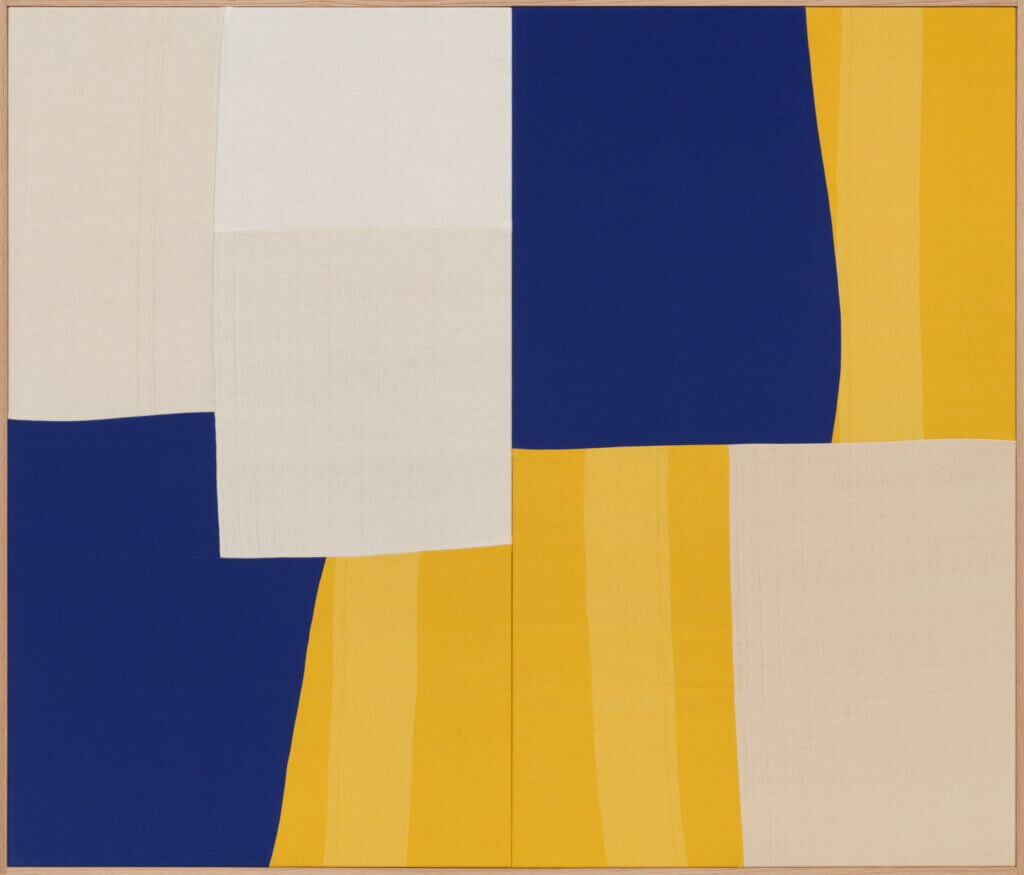 Ethan Cook Highways and Byways, 2021 hand woven cotton and linen, framed 60 x 70 in. (152.4 x 177.8 cm.)