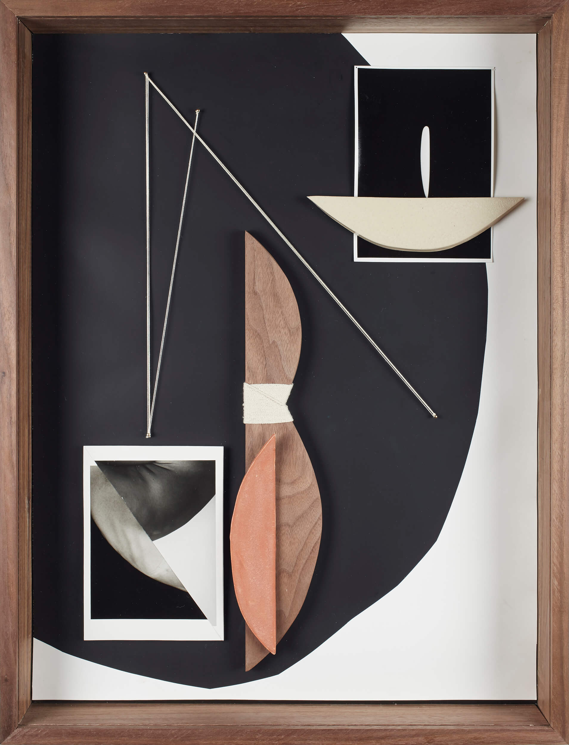 Sheree Hovsepian Grounding, 2019 silver gelatin prints, photograms, ceramic, wood, string, nails, artist's frame (walnut, optium museum acrylic) 25 x 19 1/4 x 4 in. (63.5 x 48.9 x 10.2 cm.)