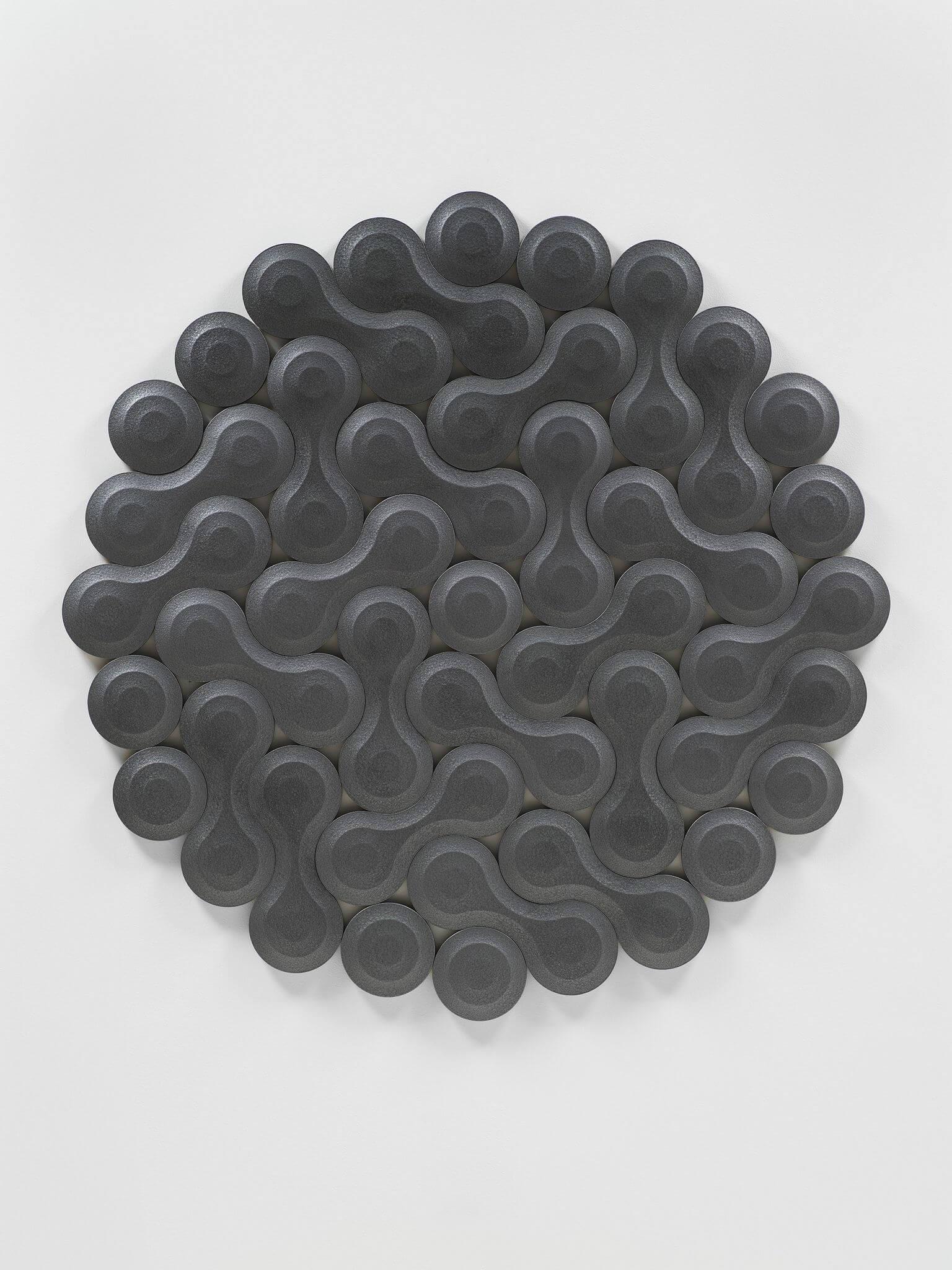 Josh Sperling Double Bubble EE, 2020 hammered enamel, urethane foam 49 3/16 x 52 3/8 in. (125 x 133 cm.)