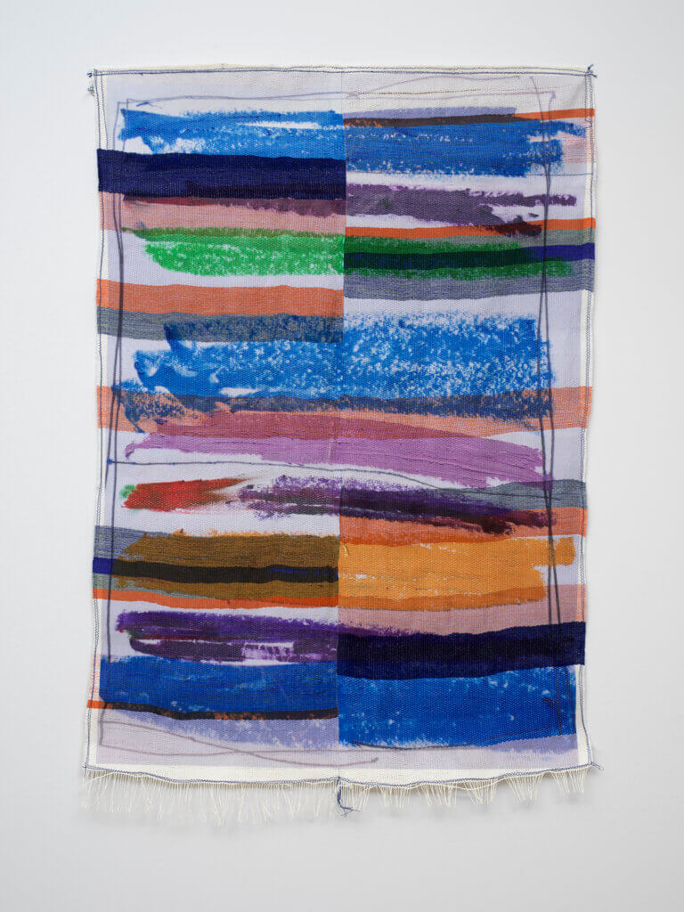 Marie Hazard in between lines, 2021 hand woven in paper and polyester threads and digital print 49 1/4 x 33 1/2 in. (125 x 85 cm.)