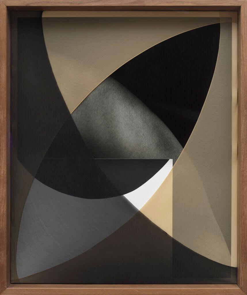 Sheree Hovsepian Navel Gaze, 2018 silver gelatin photograph and photogram, nylon, artist frame (walnut, optium museum acrylic) 25 x 21 x 4 in. (64 x 53 x 10 cm.)