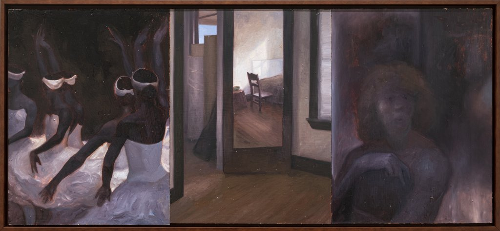 Gabriel Mills How To Love, 2020 oil on wood panel (triptych) 24 x 54 in. (61 x 137.2 cm.)
