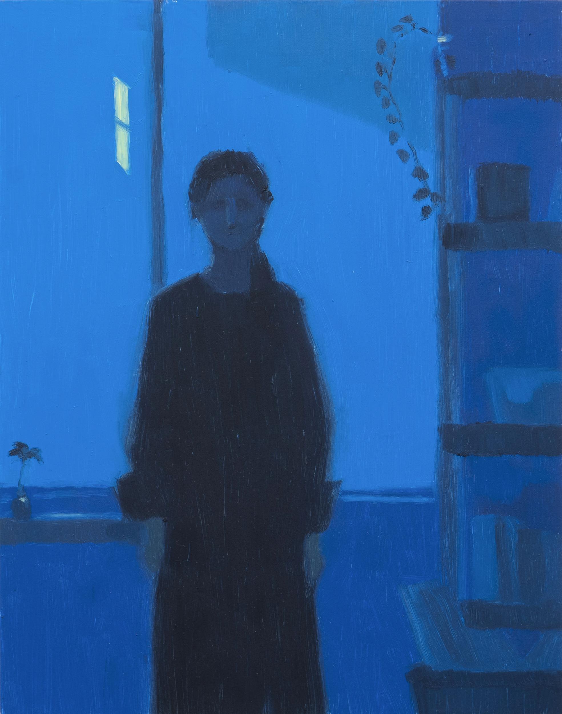 Yuri Yuan Blue Series: Figure, 2021 oil on board 14 x 11 in. (35.6 x 27.9 cm.)