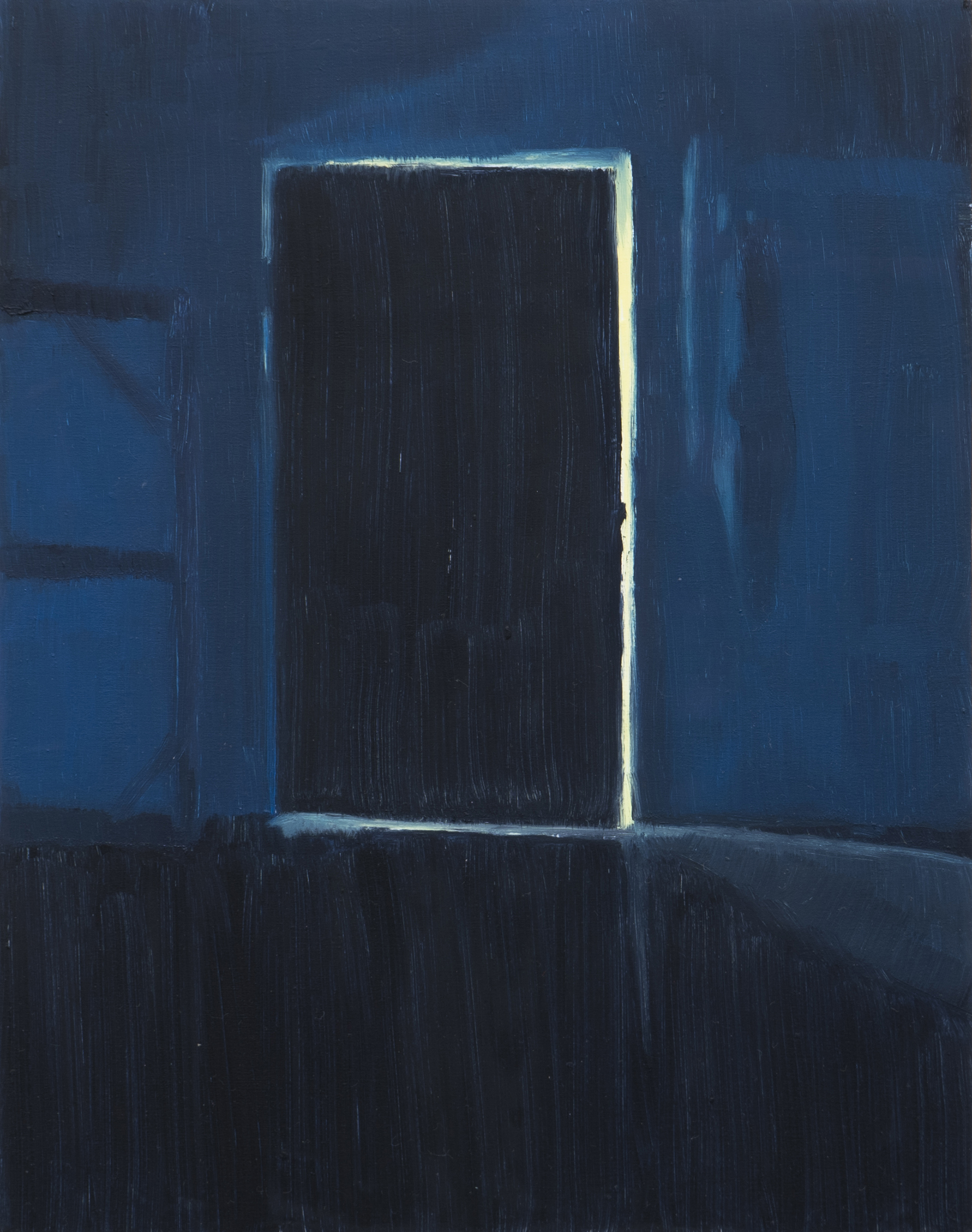 Yuri Yuan Blue Series: Door, 2021 oil on board 14 x 11 in. (35.6 x 27.9 cm.)