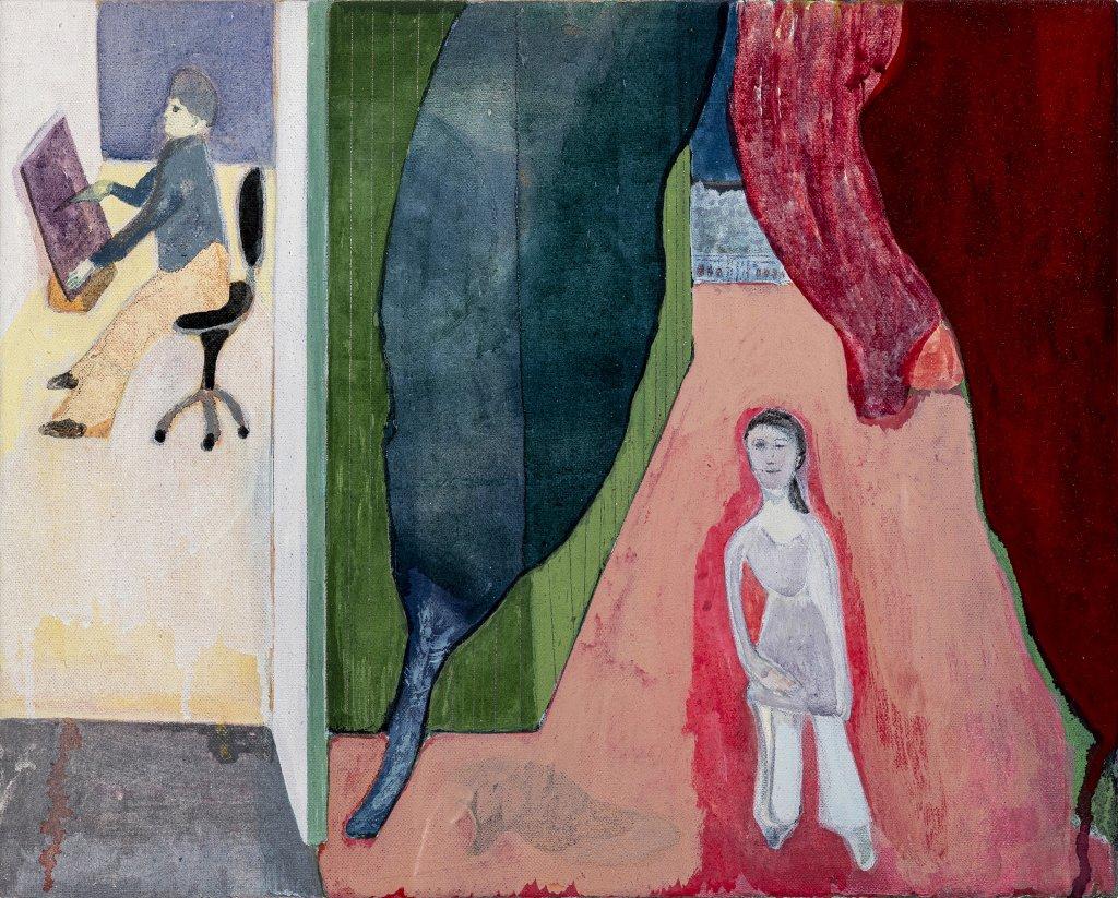 Vicente Matte In the Studio, 2020 distemper on canvas 15 3/4 x 19 3/4 in. (40 x 50 cm.)