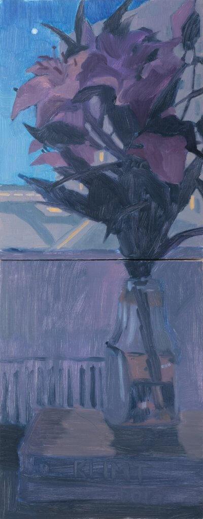 Yuri Yuan Night Lily, 2021 oil on board, diptych 28 x 11 in. (71.1 x 27.9 cm.)