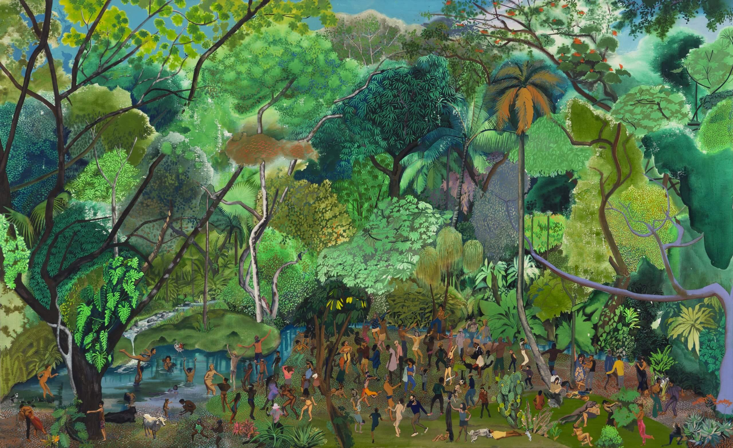 """Hulda Guzmán """"Come Dance""""-asked Nature kindly, 2020 acrylic gouache on linen 48 x 78 in. (121.9 x 198.1 cm.)"""